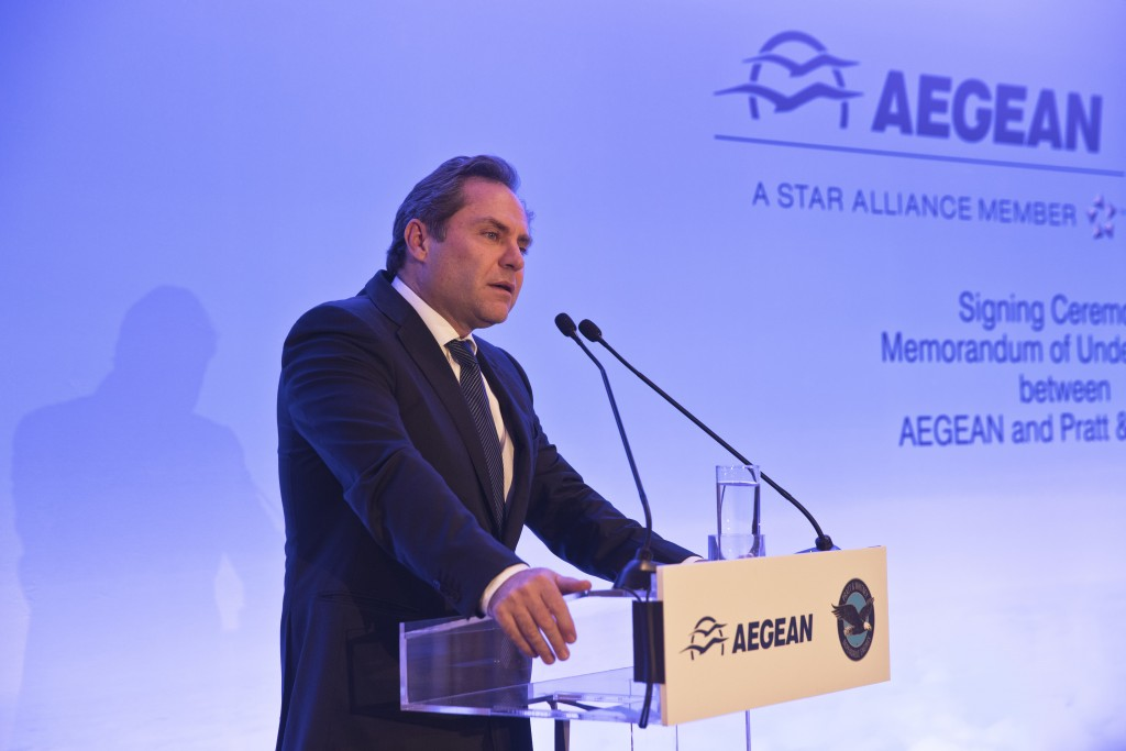 Chairman of Aegean Airlines Eftychios Vassilakis, speaks during a signing of a memorandum of understanding for the purchase of up to 130 new Pratt & W