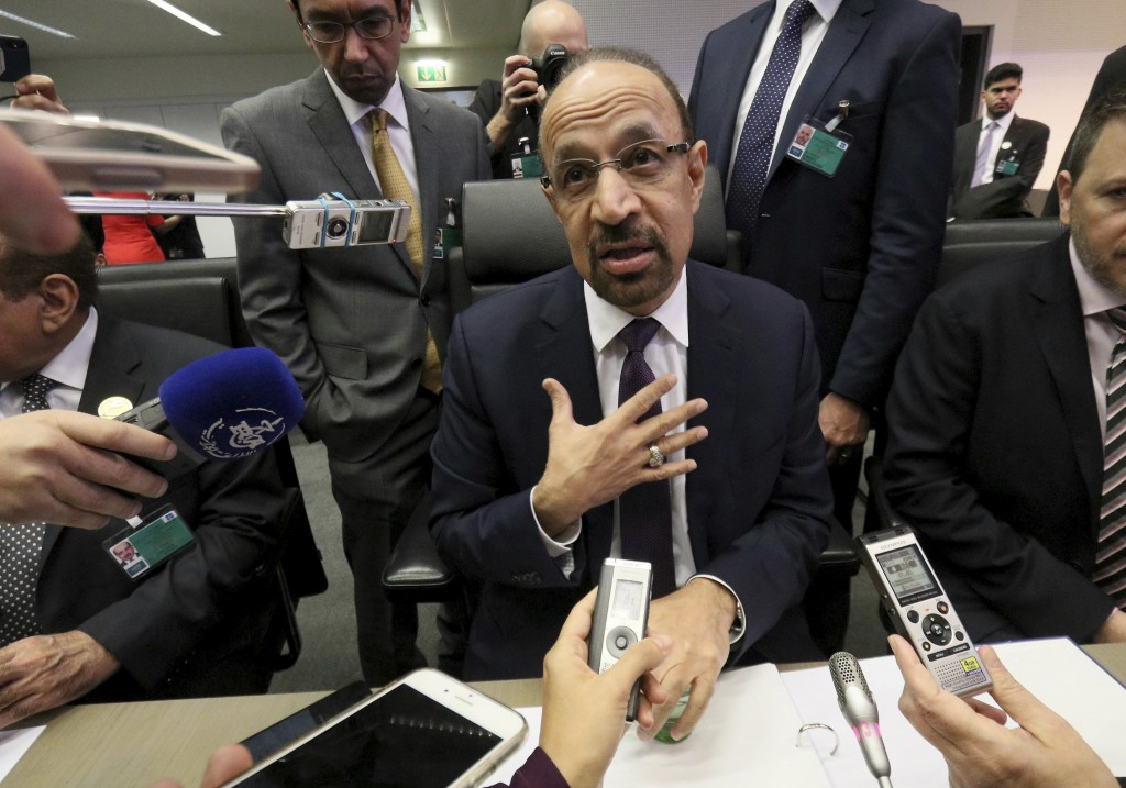 Khalid Al-Falih Minister of Energy, Industry and Mineral Resources of Saudi Arabia speaks prior to the start of a meeting of the Organization of the P