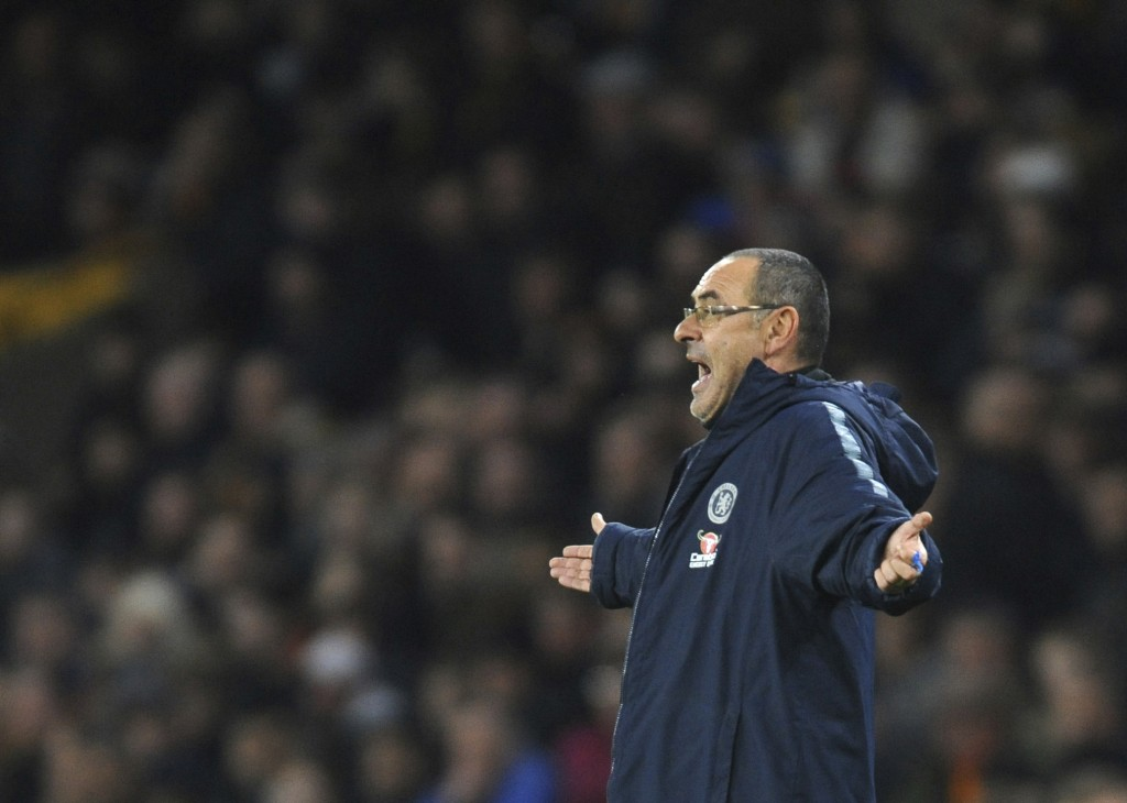 Chelsea manager Maurizio Sarri reacts during the English Premier League soccer match between Wolverhampton Wanderers and Chelsea at the Molineux Stadi