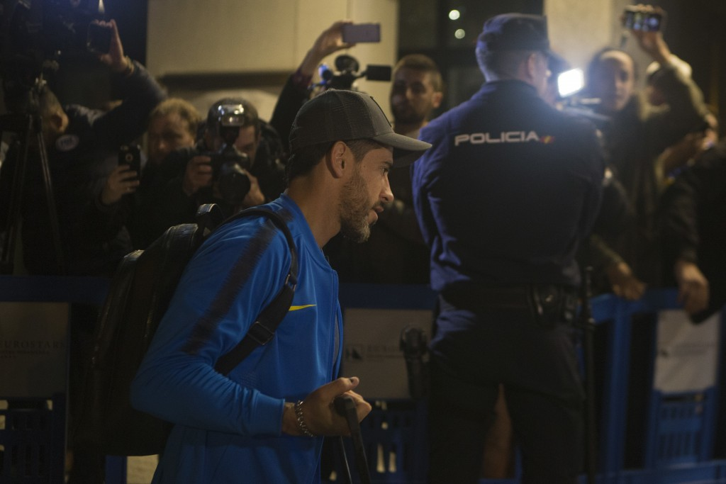 Boca Junior's Pablo Perez arrives with his team to their hotel in Madrid, Spain, Wednesday, Dec. 5, 2018. The Copa Libertadores Final will be played o
