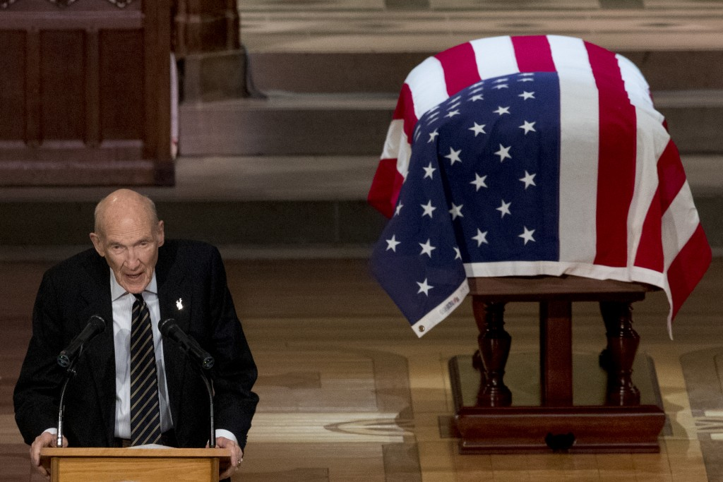 Former Sen. Alan Simpson, R-Wyo, speaks during the State Funeral for former President George H.W. Bush at the National Cathedral, Wednesday, Dec. 5, 2