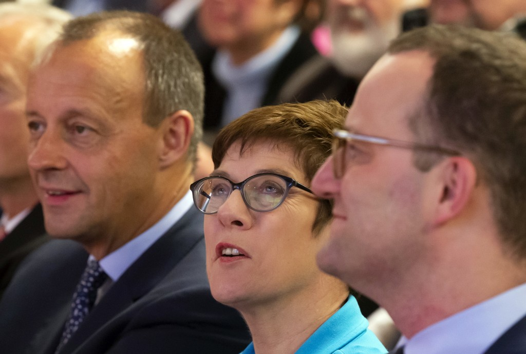 FILE - In this Wednesday, Nov. 21, 2018 file photo Friedrich Merz, former CDU faction leader, left, Annegret Kramp-Karrenbauer, General Secretary of t