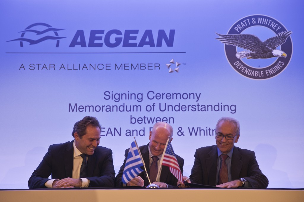 Chairman of Aegean Airlines Eftychios Vassilakis, left, Rick Deurloo Senior Vice President - Sales, Marketing and Customer Support at Pratt & Whitney