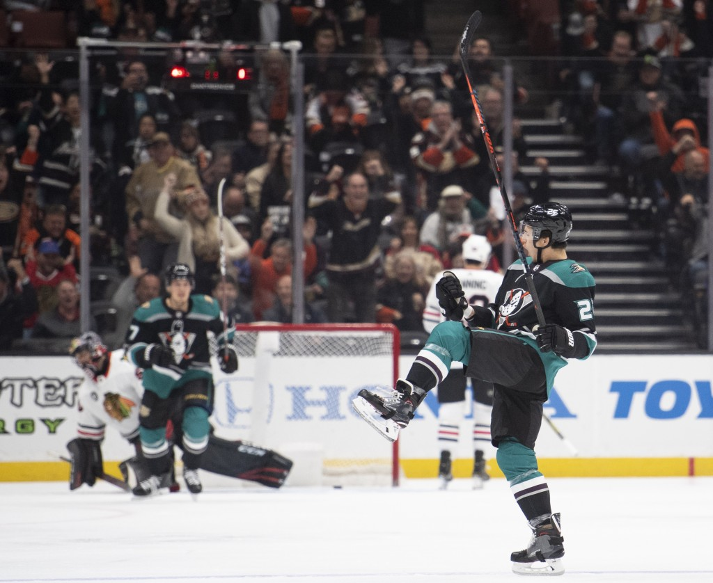 Anaheim Ducks defenseman Brandon Montour celebrates his goal in the first period of an NHL hockey game against the Chicago Blackhawks in Anaheim, Cali