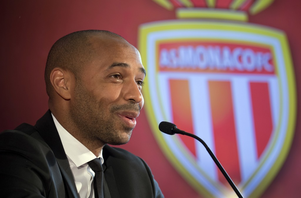 FILE - In this file photo dated Wednesday, Oct. 17, 2018,  Thierry Henry is named AS Monaco head coach during his official media presentation in Monac