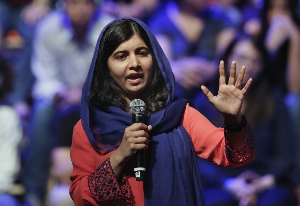 FILE - In this July 9, 2018 file photo, Pakistan's Nobel laureate Malala Yousafzai speaks during a meeting with women who campaign for education and c