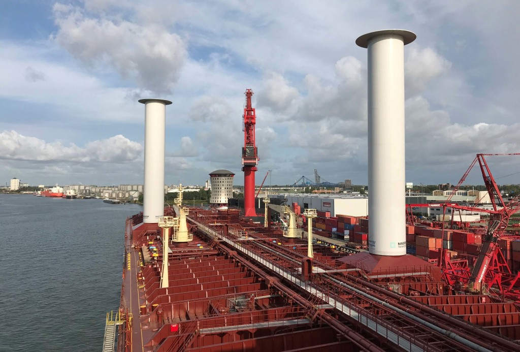 Finnish startup company Norsepower installed its rotor sail technology on the Maersk Pelican tanker, Aug. 29, 2018, at Rotterdam, Netherlands, in the