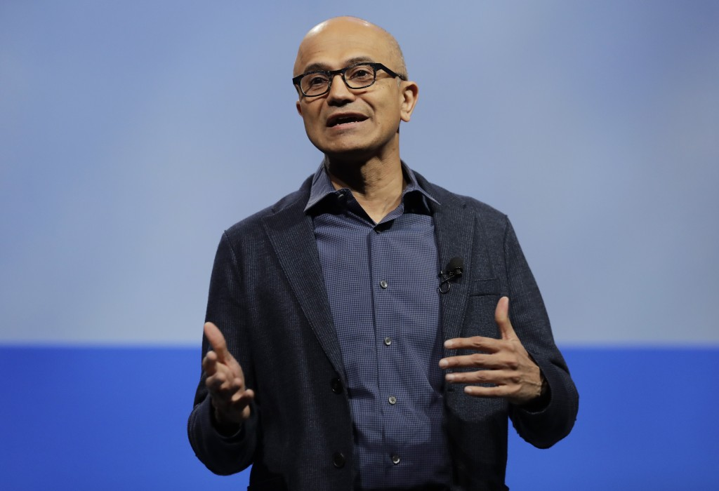 FILE - In this Nov. 28, 2018, file photo, Microsoft CEO Satya Nadella speaks during the annual Microsoft Corp. shareholders meeting in Bellevue, Wash.
