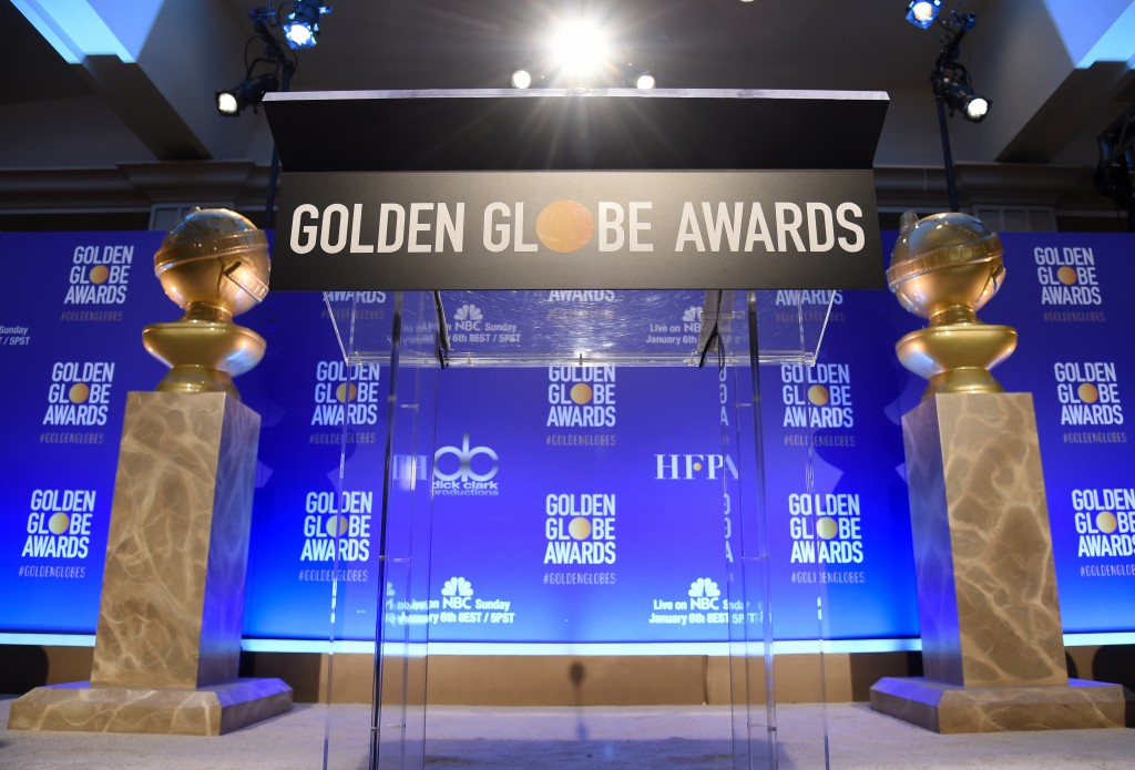 Golden Globe statues appear on stage prior to the nominations for the 76th Annual Golden Globe Awards at the Beverly Hilton hotel on Thursday, Dec. 6,