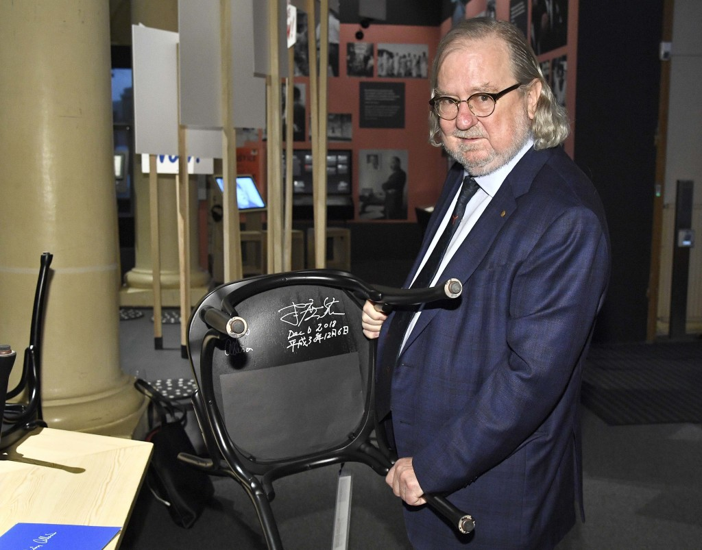 The 2018 Nobel Physiology or Medicine laureate, Professor James P. Allison poses during the traditional Nobel Chair Signing ceremony at the Nobel Muse