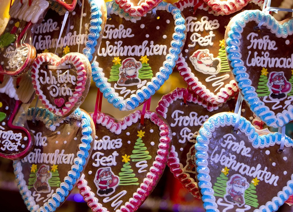In this Tuesday, Dec. 4, 2018 photo gingerbread hearts are seen at the traditional Christmas market in Heidelberg, Germany, Tuesday. The Christmas mar