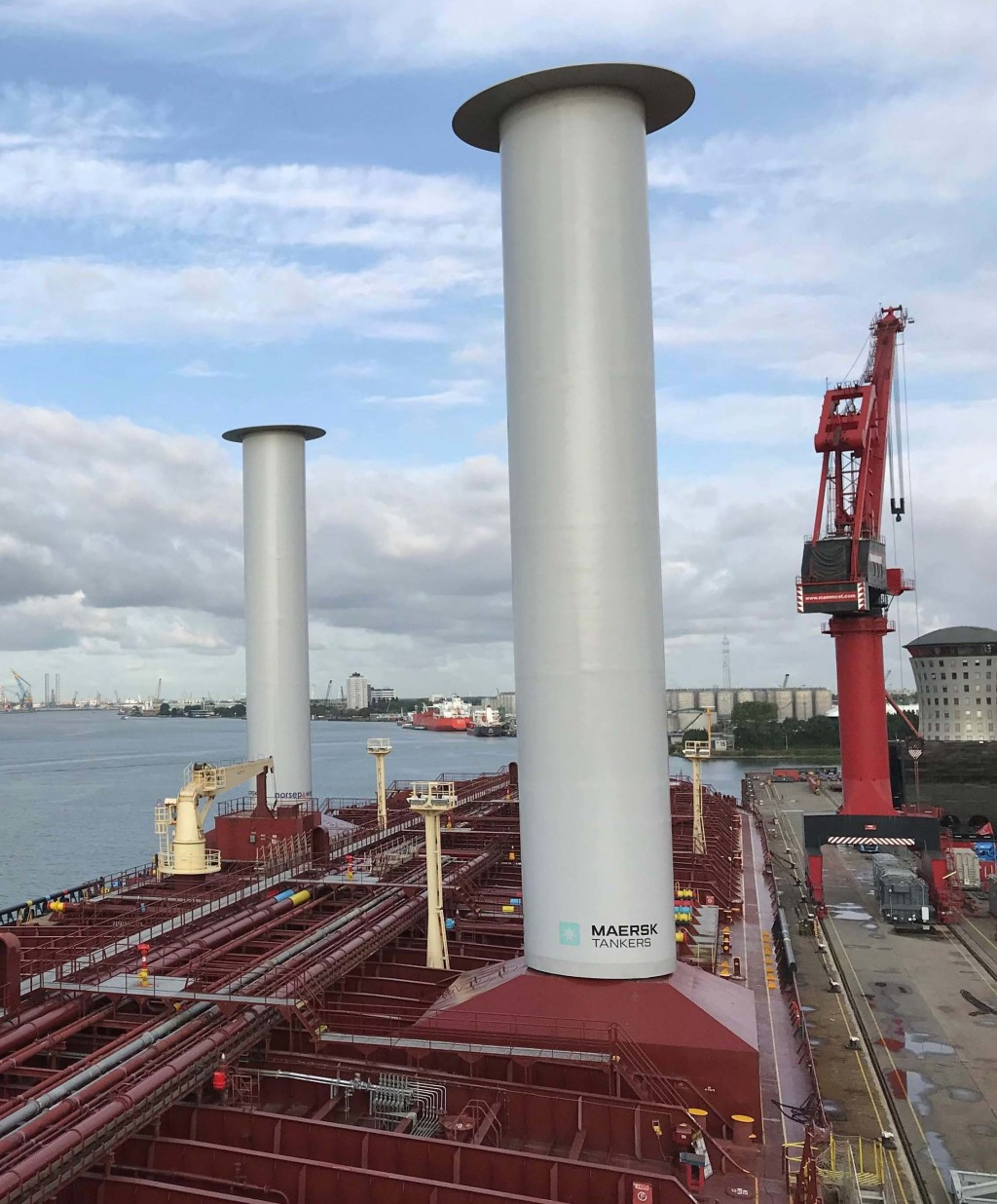 Finnish startup company Norsepower installed its rotor sail technology onto the Maersk Pelican tanker, Aug. 29, 2018, in Rotterdam, Netherlands, the f