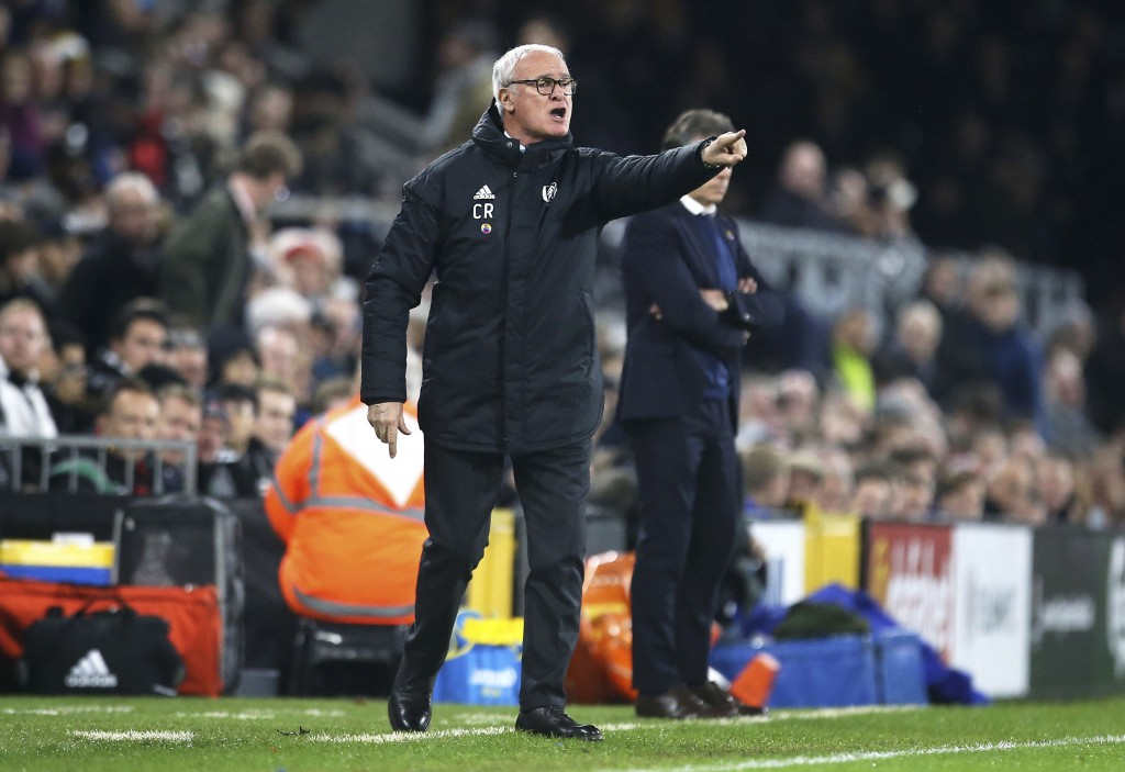 Fulham manager Claudio Ranieri during the match against Leicester City, during their English Premier League soccer match at Craven Cottage in London,