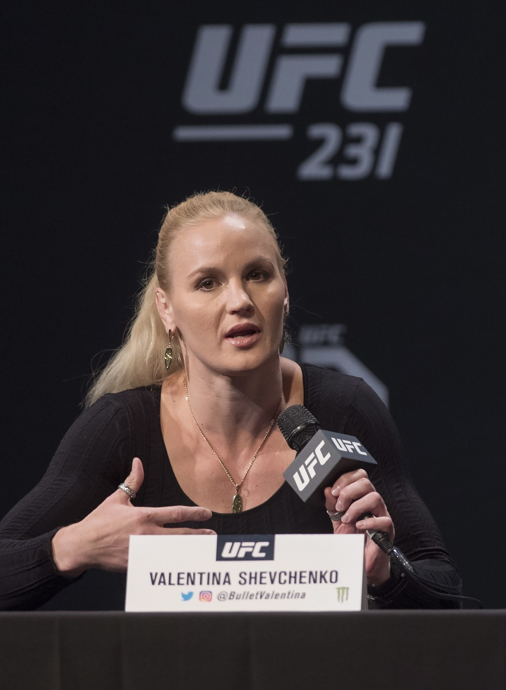 UFC featherweight Valentina Shevchenko speaks at a press conference, Wednesday, Dec. 5, 2018 in Toronto. UFC 231 takes place on Saturday, Dec. 8, 2018...