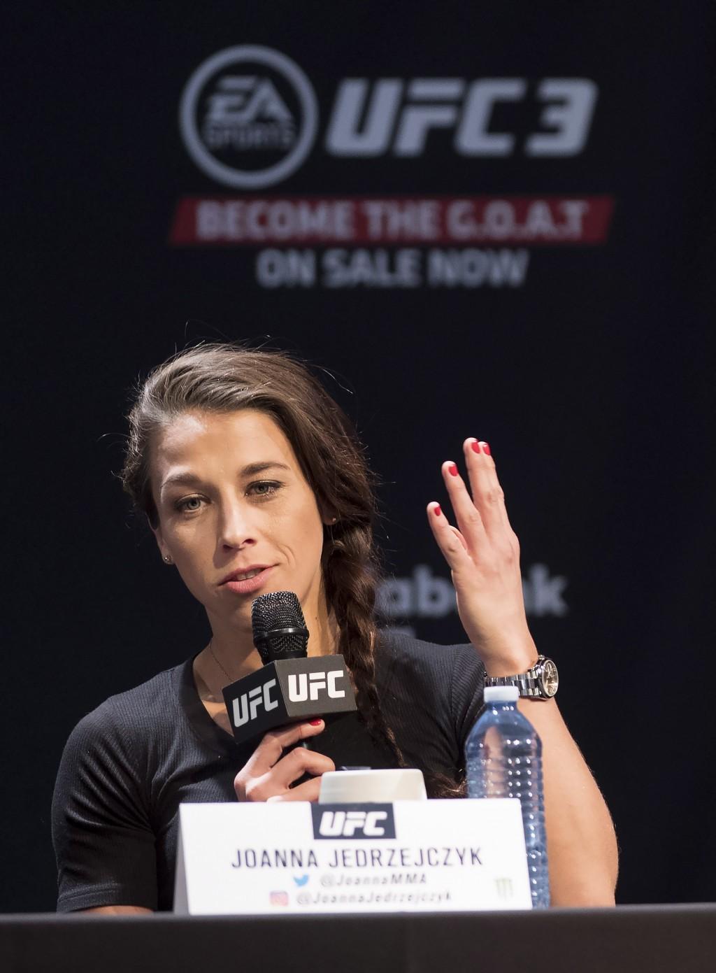 UFC women's strawweight Joanna Jedrzejczyk speaks at a press conference, Wednesday, Dec. 5, 2018 in Toronto. UFC 231 takes place on Saturday, Dec. 8,