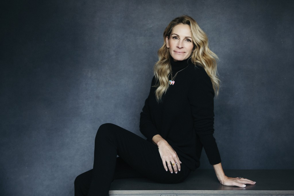 "In this Dec. 3, 2018 photo, actress Julia Roberts poses for a portrait in New York to promote her film, ""Ben is Back."" (Photo by Victoria Will/ Invisi..."