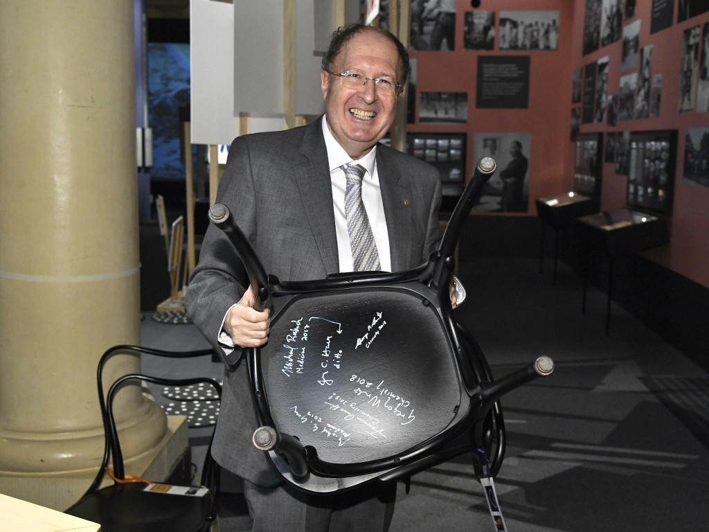 The 2018 Nobel Chemistry laureate, Gregory P. Winter poses during the traditional Nobel Chair Signing ceremony at the Nobel Museum in Stockholm, Swede