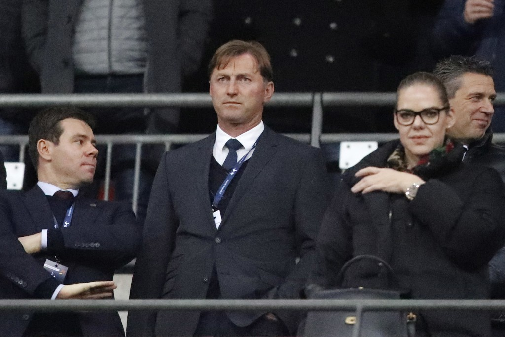 Southampton new manager Ralph Hasenhuttlthe, center, attends the English Premier League soccer match between Tottenham Hotspur and Southampton at Wemb