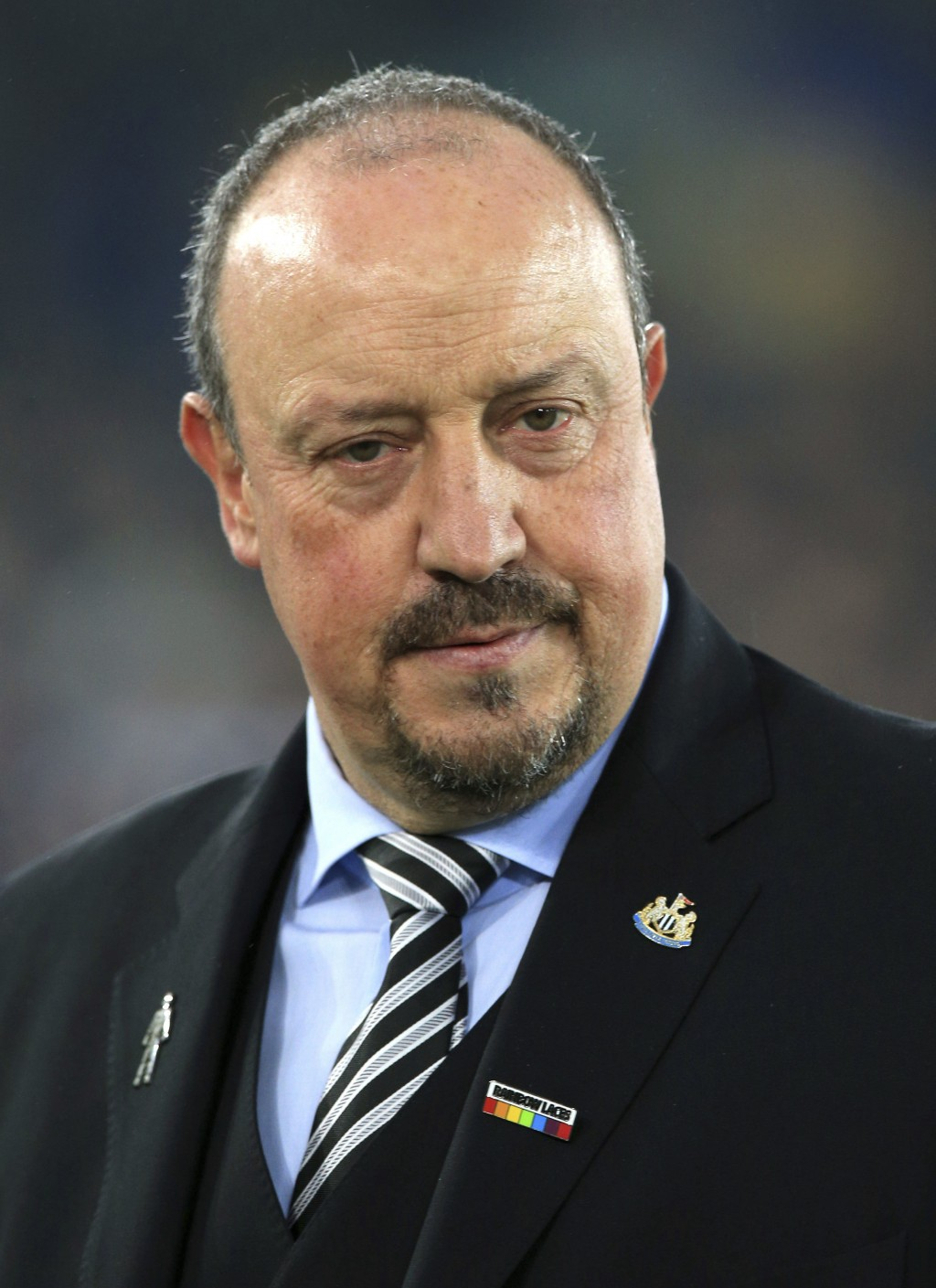 Newcastle United manager Rafael Benitez looks on before the game against Everton during their English Premier League soccer match at Goodison Park in