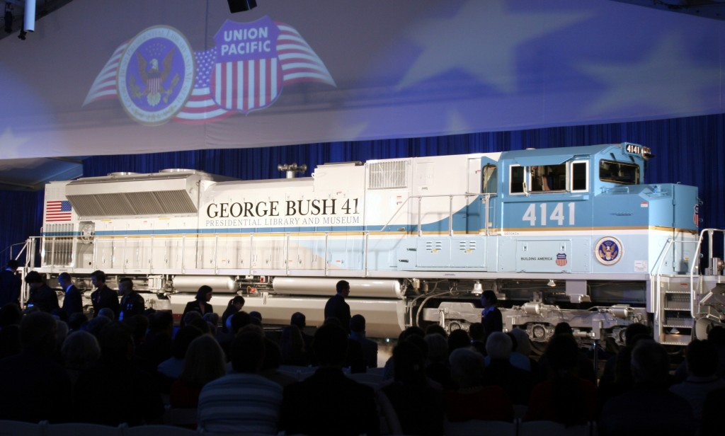 FILE - In this Oct. 18, 2005, file photo, a new locomotive numbered 4141 in honor of the 41st president, George H.W. Bush, is unveiled at Texas A&M Un