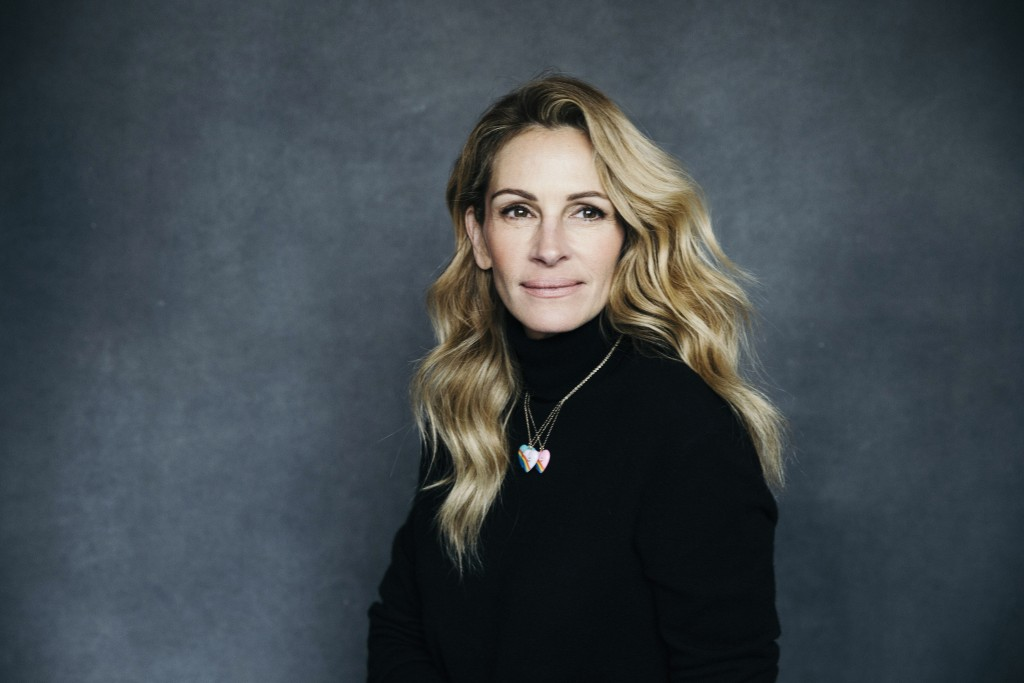 "In this Dec. 3, 2018 photo, actress Julia Roberts poses for a portrait in New York to promote her film, ""Ben is Back."" (Photo by Victoria Will/ Invisi"