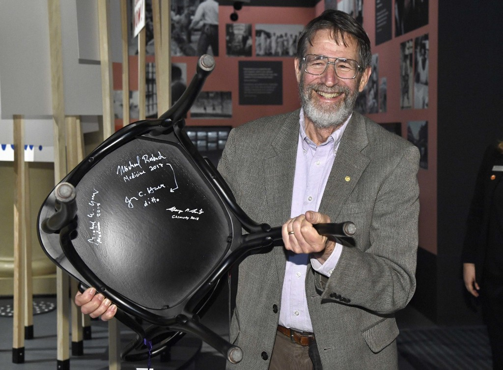 The 2018 Nobel Chemistry laureate, George P. Smith poses during the traditional Nobel Chair Signing ceremony at the Nobel Museum in Stockholm, Sweden,
