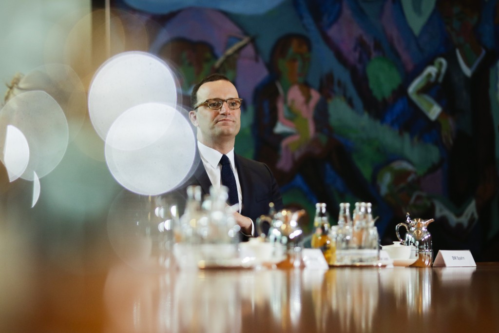 FILE - In this Wednesday, April 25, 2018 file photo German Health Minister Jens Spahn attends the weekly cabinet meeting of the German government at t