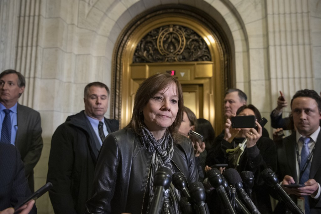 General Motors CEO Mary Barra speaks to reporters after a meeting with Sen. Sherrod Brown, D-Ohio, and Sen. Rob Portman, R-Ohio, to discuss GM's annou