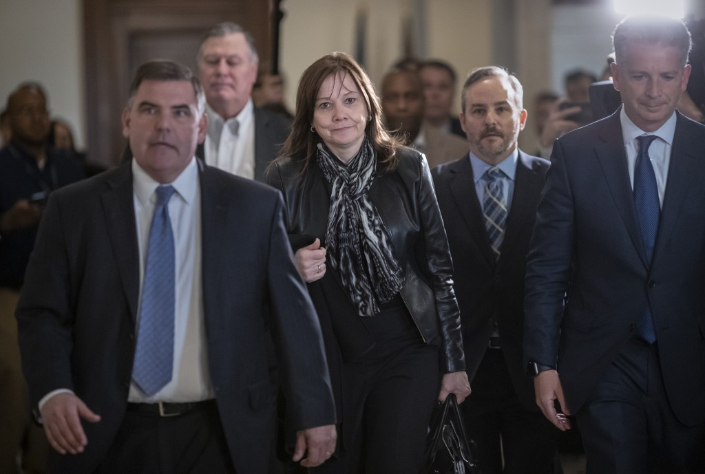 General Motors CEO Mary Barra arrives for a meeting with Sen. Sherrod Brown, D-Ohio, and Sen. Rob Portman, R-Ohio, to discuss GM's announcement it wou