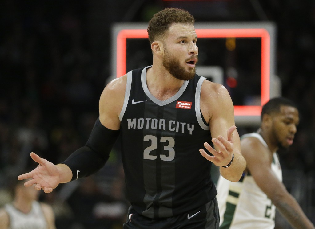 Detroit Pistons' Blake Griffin reacts to a call during the second half of an NBA basketball game against the Milwaukee Bucks Wednesday, Dec. 5, 2018,