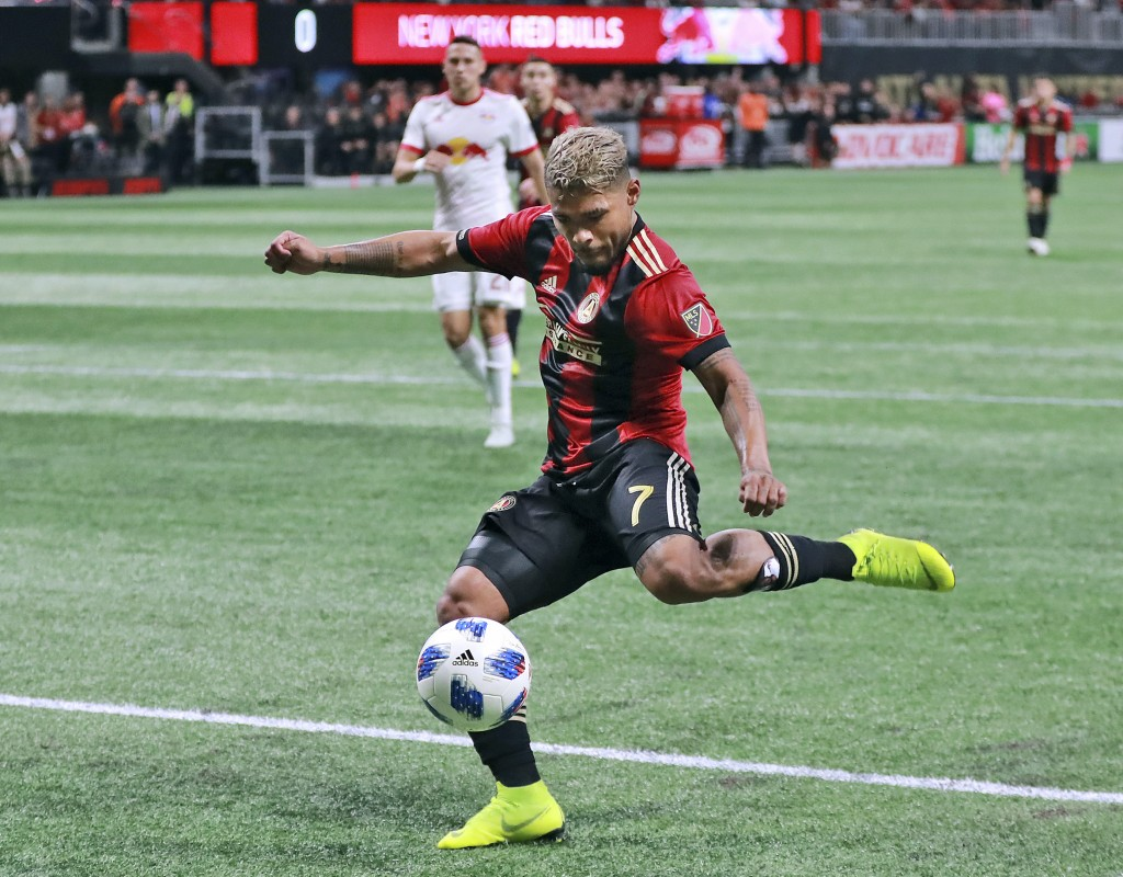 FILE - In this Sunday, Nov. 25, 2018, file photo, Atlanta United forward Josef Martinez scores a goal against the New York Red Bulls during the first