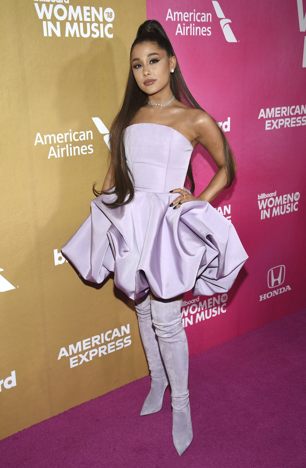 Ariana Grande attends the 13th annual Billboard Women in Music event at Pier 36 on Thursday, Dec. 6, 2018, in New York. (Photo by Evan Agostini/Invisi