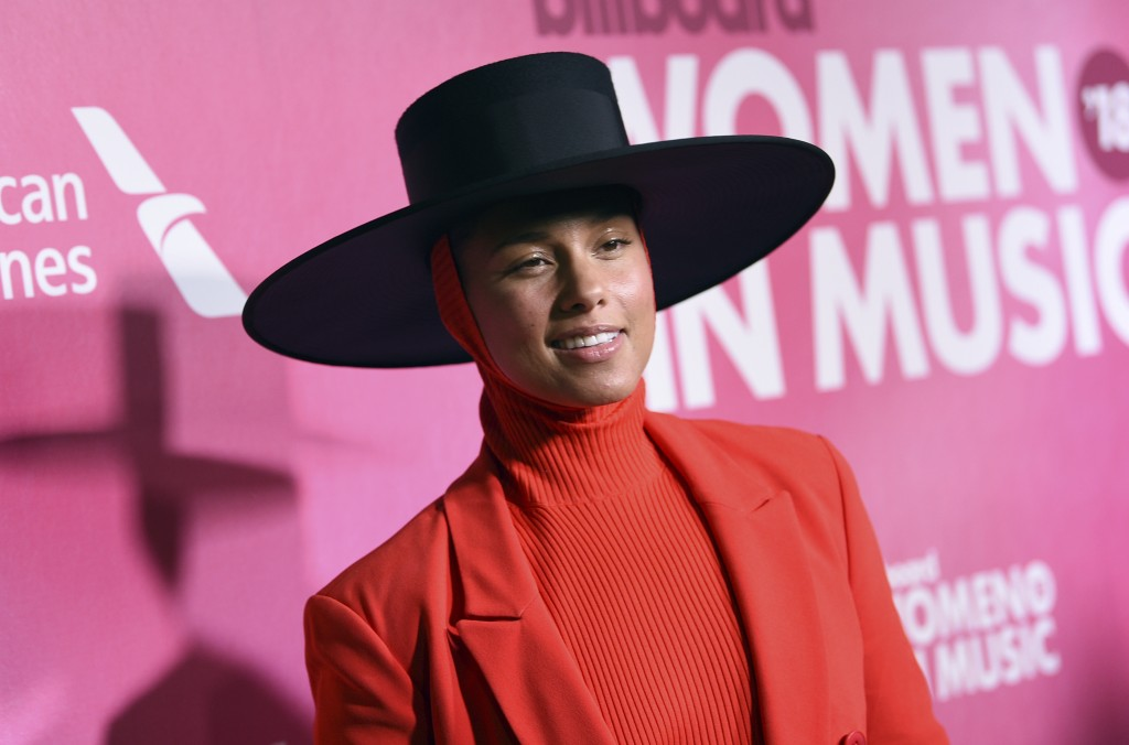 Alicia Keys attends the 13th annual Billboard Women in Music event at Pier 36 on Thursday, Dec. 6, 2018, in New York. (Photo by Evan Agostini/Invision