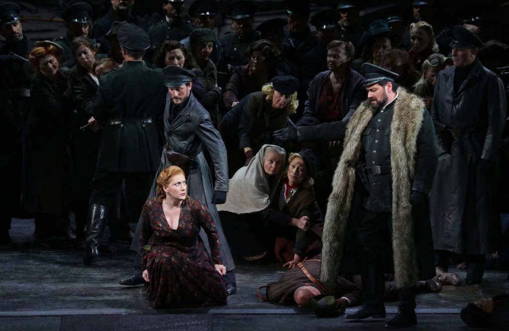 This undated photo made available by La Scala opera theater on Dec. 5, 2018 shows Spanish soprano Saioa Hernandez, on the ground, and Russian bass Ild