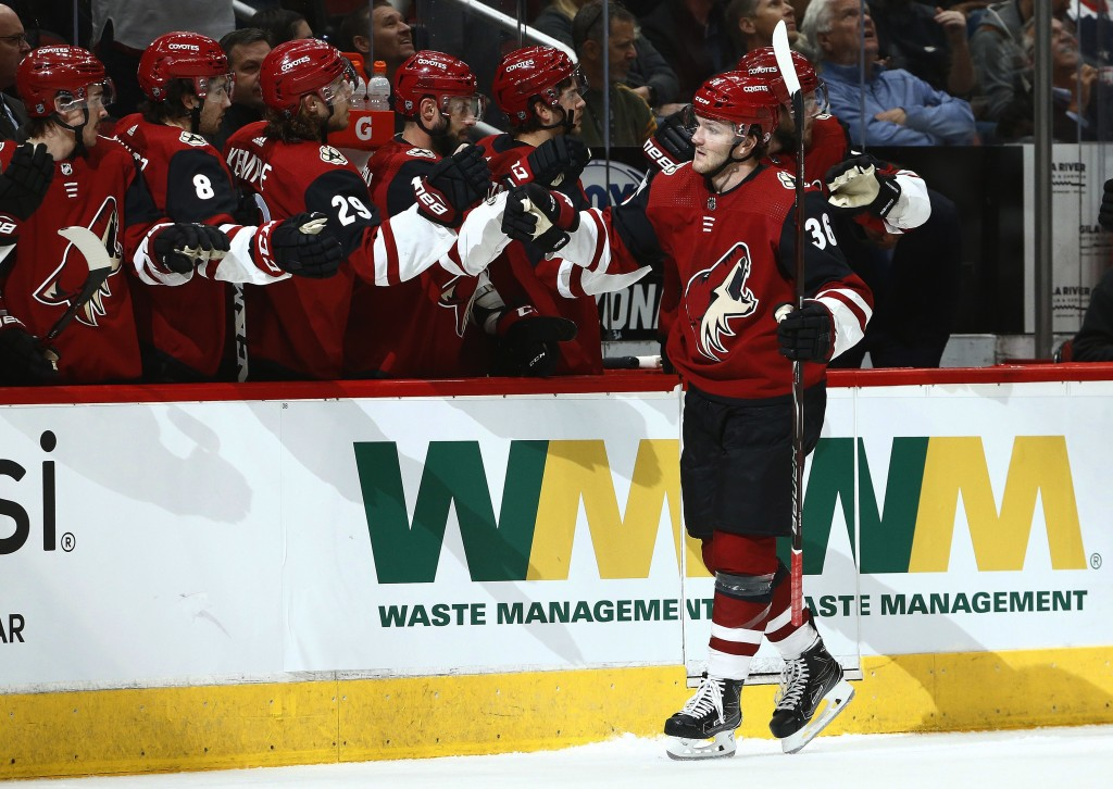 Arizona Coyotes right wing Christian Fischer (36) celebrates his goal against the Washington Capitals during the first period of an NHL hockey game Th