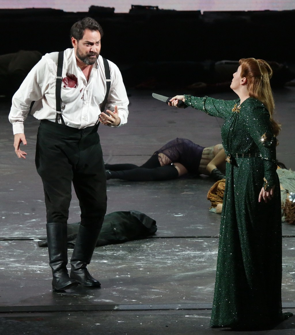This undated photo made available by La Scala opera theater on Dec. 5, 2018 shows Russian bass Ildar Abdrazakov, left, and Spanish soprano Saioa Herna