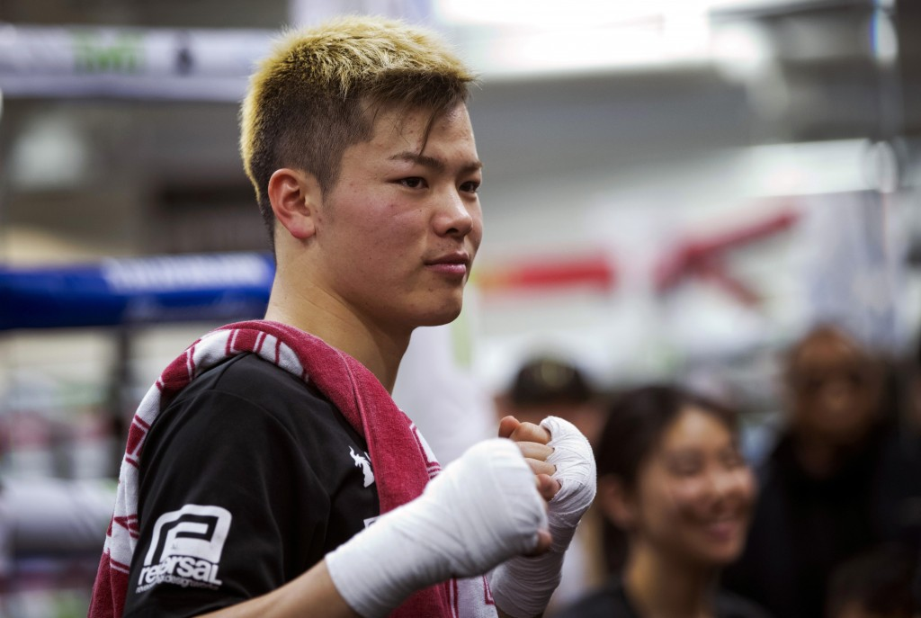 Kickboxer Tenshin Nasukawa, of Japan, poses in the Mayweather Boxing Club in Las Vegas, Thursday, Dec. 6, 2018. Nasukawa is scheduled to face Floyd Ma