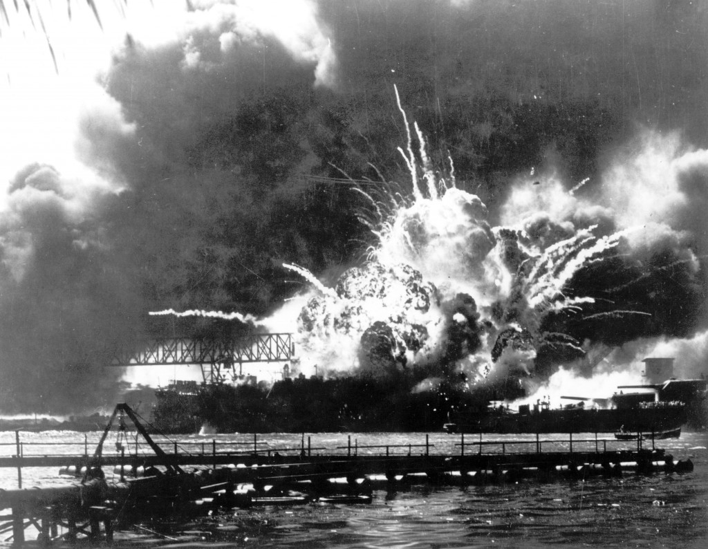 In this Dec. 7, 1941 file photo provided by the U.S. Navy, the destroyer USS Shaw explodes after being hit by bombs during the Japanese attack on Pear