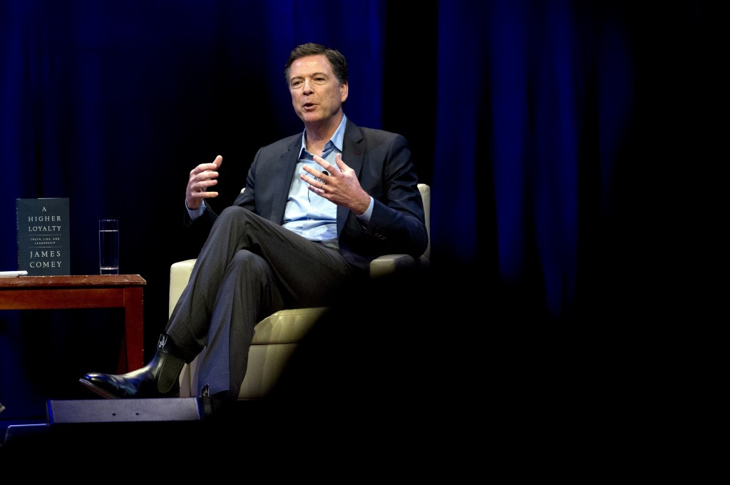 FILE - In this April 30, 2018, file photo, former FBI director James Comey speaks during a stop on his book tour in Washington. House Republicans are
