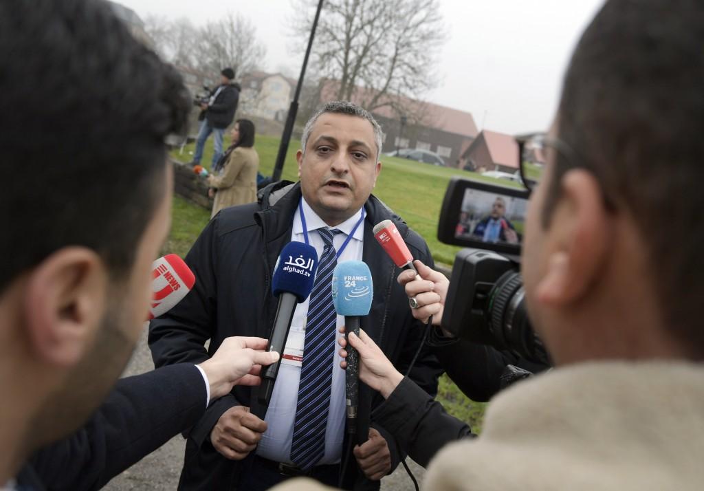 Yemen's Minister of Culture Marwan Dammaj speaks to journalists during the ongoing peace talks on Yemen held at Johannesberg Castle in Rimbo Sweden