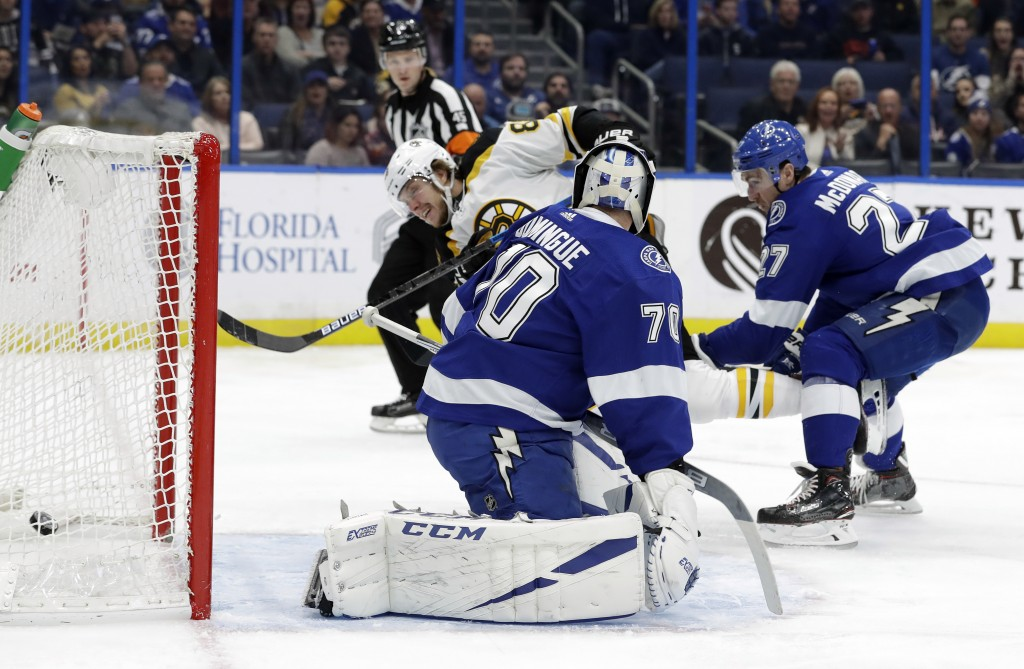 Boston Bruins right wing David Pastrnak (88) beats Tampa Bay Lightning goaltender Louis Domingue (70) for a goal during the first period of an NHL hoc