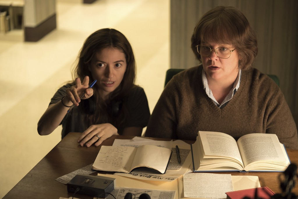 """This image released by Fox Searchlight Films shows director Marielle Heller, left, and Melissa McCarthy on the set of """"Can You Ever Forgive Me?""""  None"""