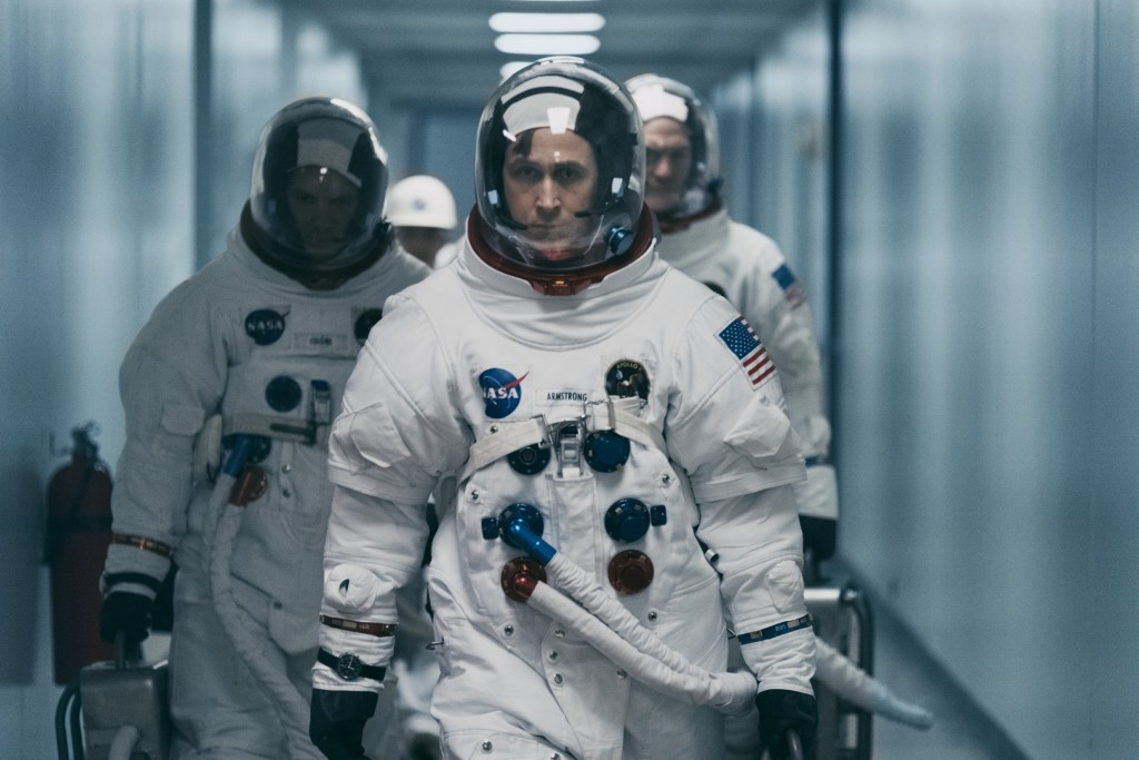 """This image released by Universal Pictures shows Ryan Gosling in a scene from """"First Man."""" Damien Chazelle's Neil Armstrong drama """"First Man"""" remains a"""
