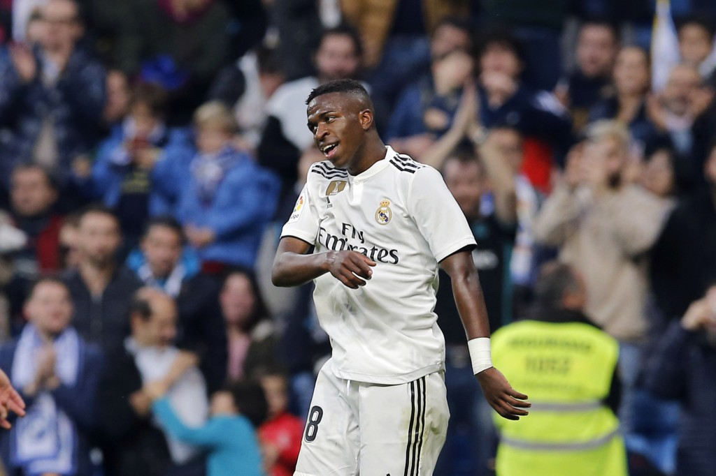 Real Madrid's Vinicius Junior reacts after scoring his side's fifth goal during a round of 32, 2nd leg, Spanish Copa del Rey soccer match between Real