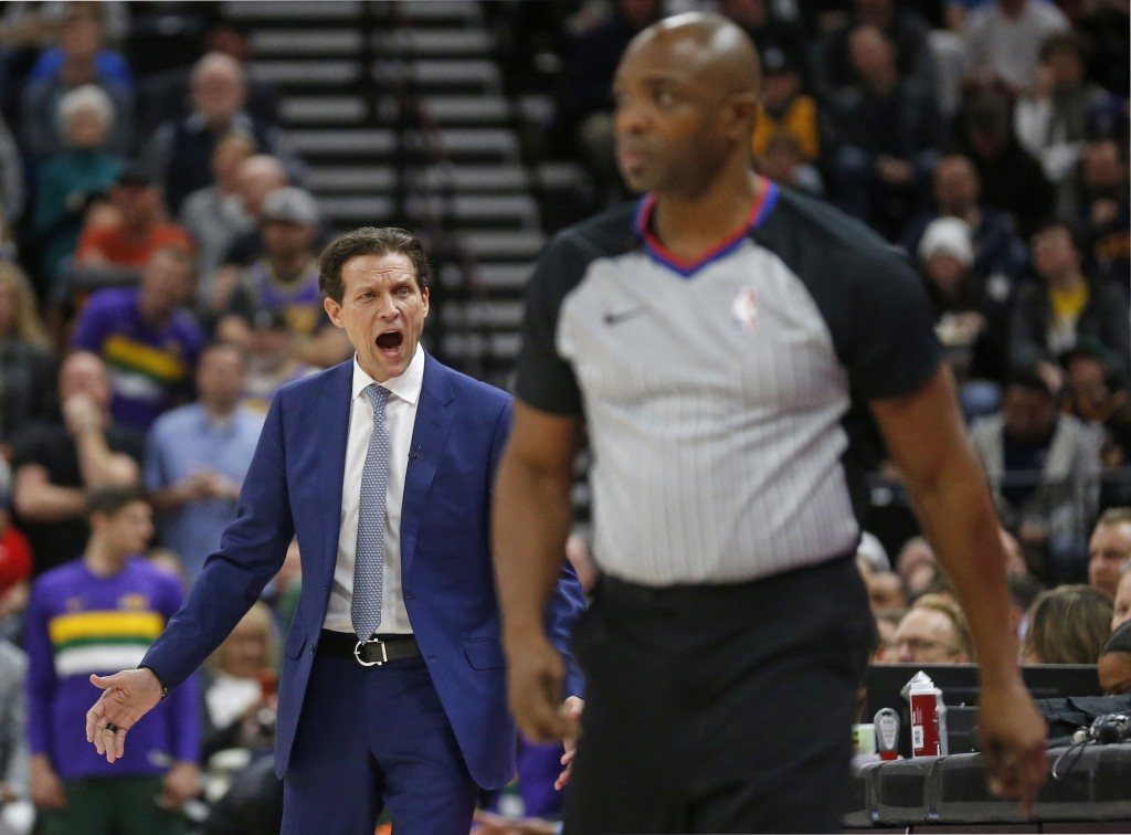 Utah Jazz coach Quin Snyder shouts at official Courtney Kirkland after a foul was called on Utah Jazz center Rudy Gobert during the first half of the