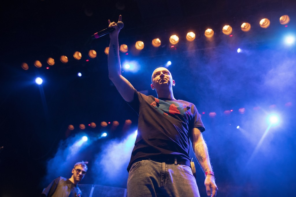 In this photo taken on Monday, Dec. 26, 2018, Russian rapper Oxxxymiron, whose real name is Miron Fyodorov, performs during a concert in support of ra