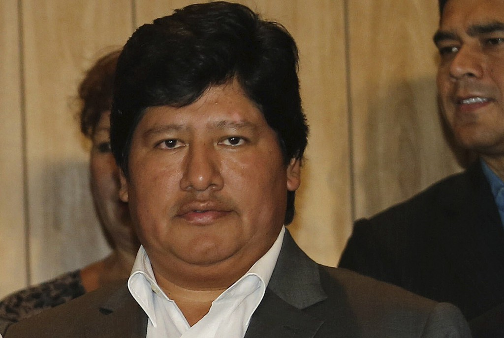 FILE - In this March 2, 2015 file photo, Peru's Football Federation President Edwin Oviedo poses for a photo during a press conference in Lima, Peru.