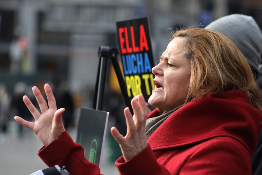 Melissa Mark-Viverito, a candidate for New York City Public Advocate, speaks at a news conference, Thursday, Dec. 6, 2018, in New York. The former New