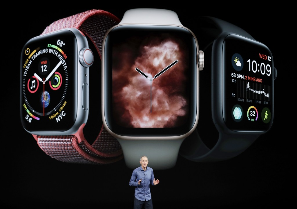 FILE - In this Sept. 12, 2018, file photo, Jeff Williams, Apple's chief operating officer, speaks about the Apple Watch Series 4 at the Steve Jobs The...