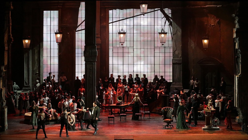 "This undated photo made available by La Scala opera theater on Dec. 5, 2018 shows a scene of ""Attila"" during a rehearsal, in Milan, Italy. La Scala's"
